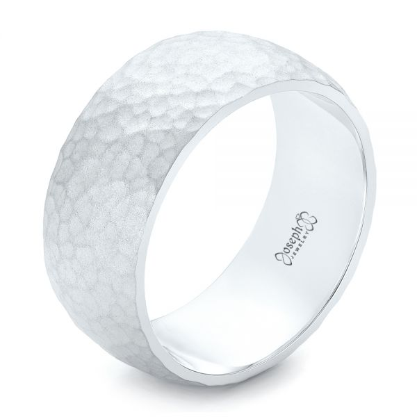 Men's White Gold Hammered Matte Finish Wedding Band - Image