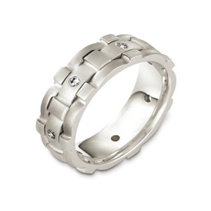 Men's Woven 18k White Gold and Diamond Band