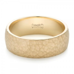 Men's Yellow Gold Hammered Matte Finish Wedding Band