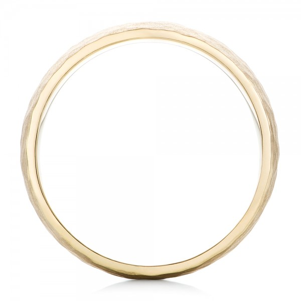 Men's Yellow Gold Hammered Matte Finish Wedding Band - Finger Through View