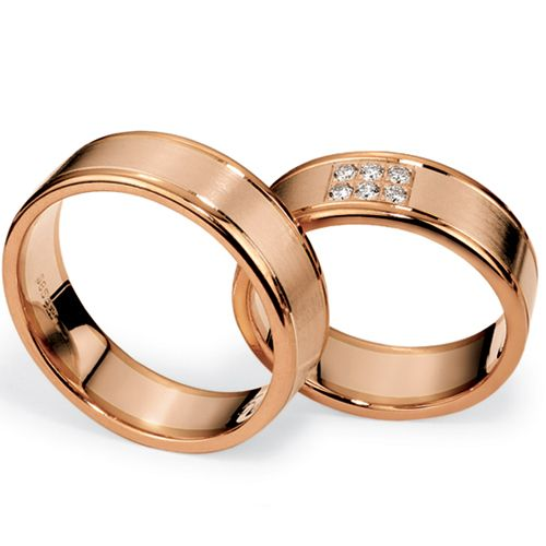 Men's Yellow Gold, Rose Gold and Diamond Band - Image