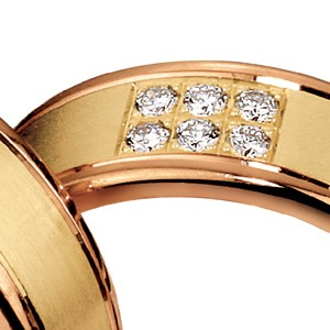Men's Yellow Gold, Rose Gold and Diamond Band