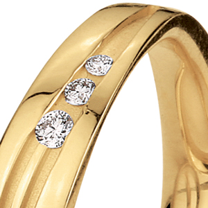 Men's Yellow Gold and Diamond Band - 3/4 View
