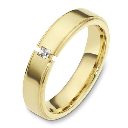 Men's Yellow Gold and Diamond Band - Image