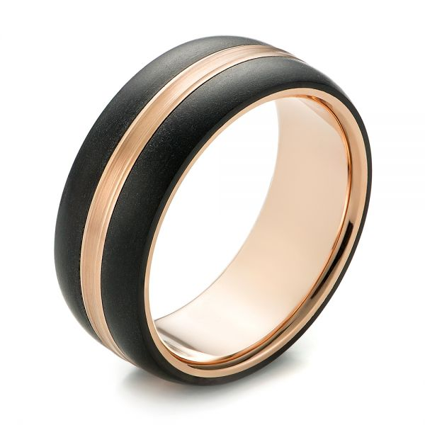 Modern Men's Carbon Fiber Wedding Ring - Three-Quarter View -  103838