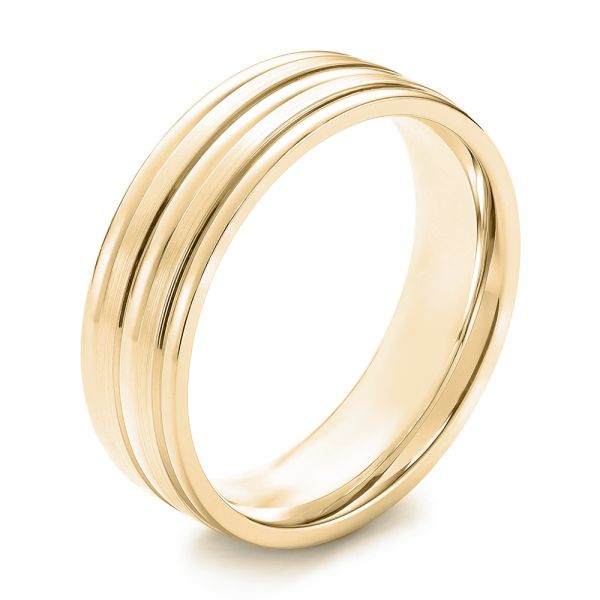 18k Yellow Gold 18k Yellow Gold Modern Men's Wedding Band - Three-Quarter View -  103023