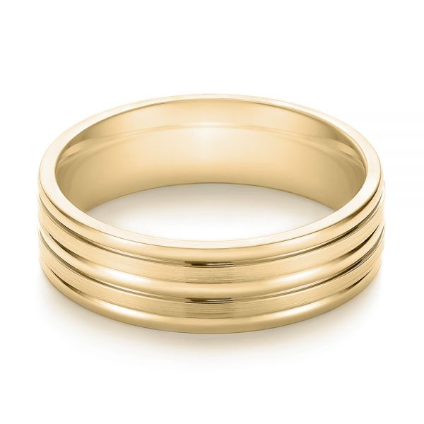 18k Yellow Gold 18k Yellow Gold Modern Men's Wedding Band - Flat View -  103023