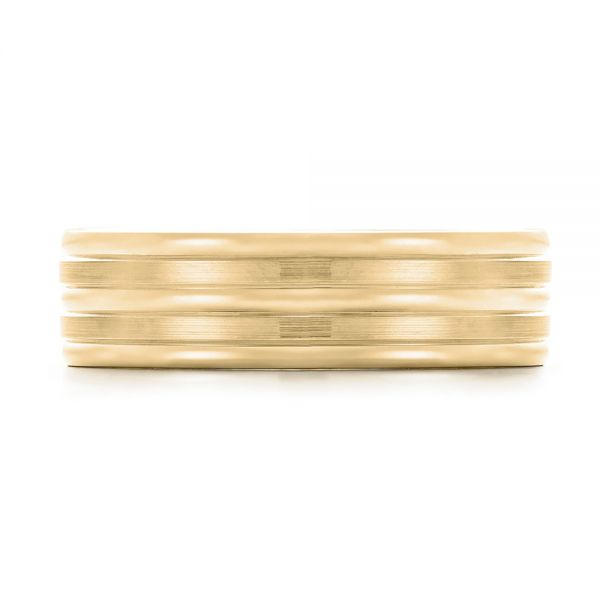 18k Yellow Gold 18k Yellow Gold Modern Men's Wedding Band - Top View -  103023