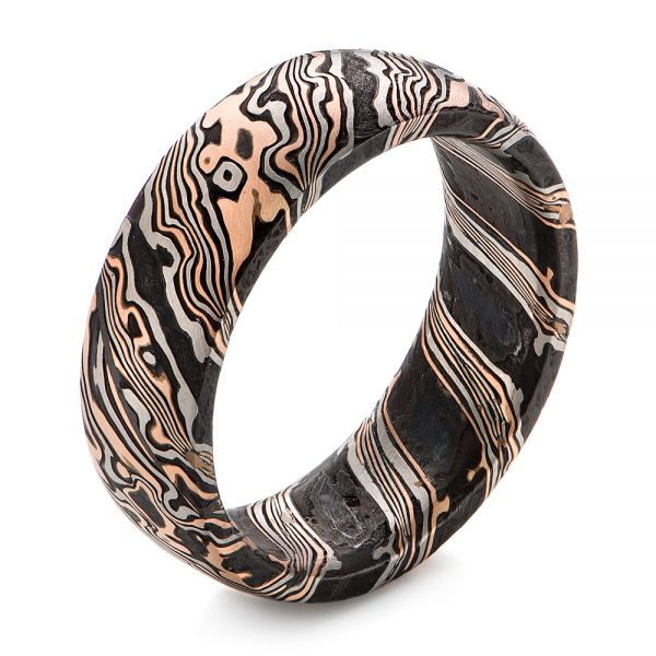 Mokume Gane Comfort Fit Wedding Band - Image