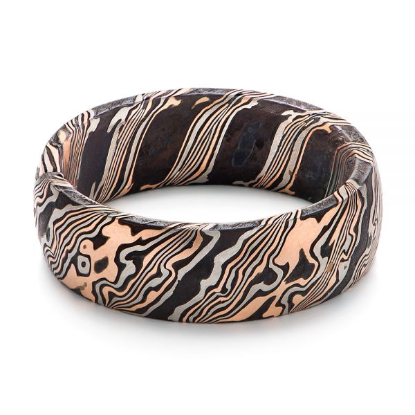 Mokume Gane Comfort Fit Wedding Band - Flat View -  105774 - Thumbnail