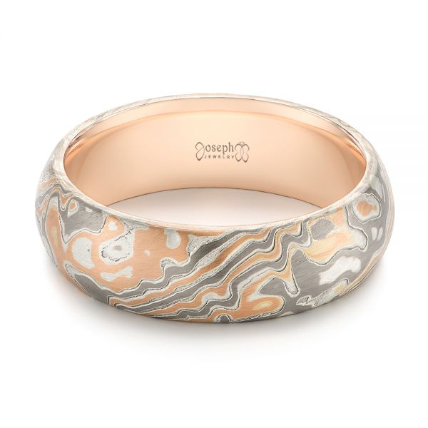 Mokume Wedding Ring - Flat View -  103891 - Thumbnail