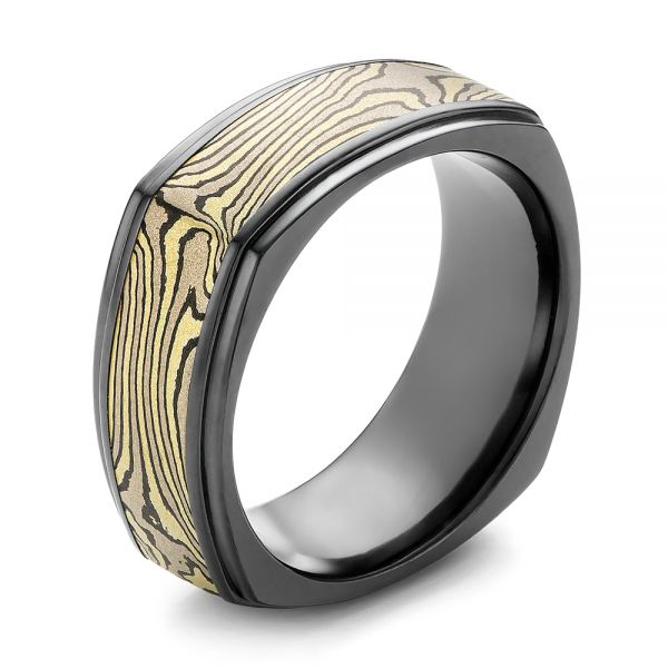 Mokume and Zirconium Wedding Band - Image