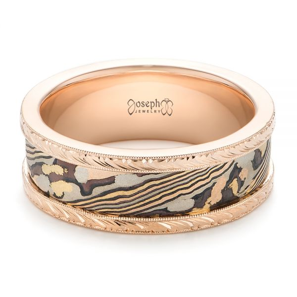 Mokume Men's Wedding Band - Flat View -