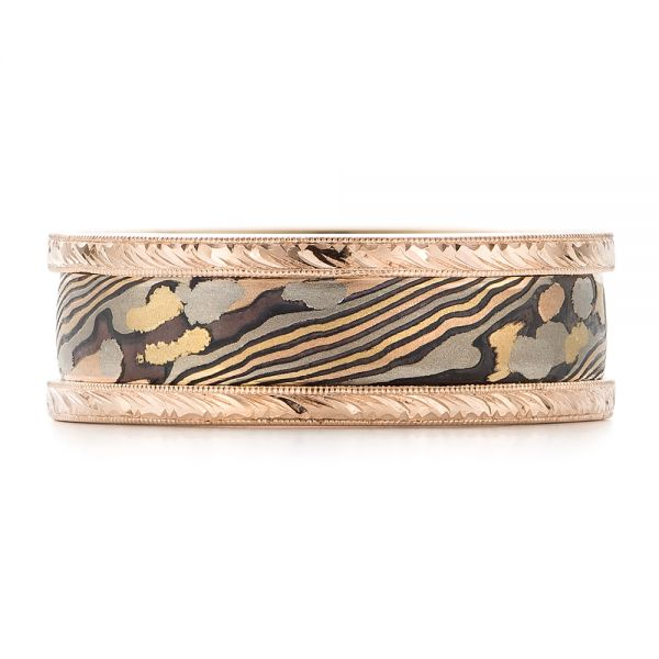 Mokume Men's Wedding Band - Top View -
