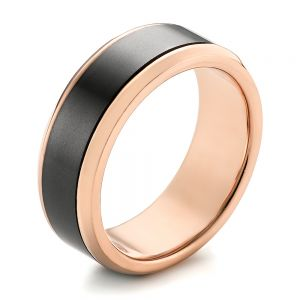 Rose Gold and Solid Diamond Men's Wedding Band - Image