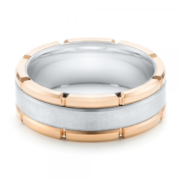 Rose Tungsten Two-tone Wedding Band - Flat View -