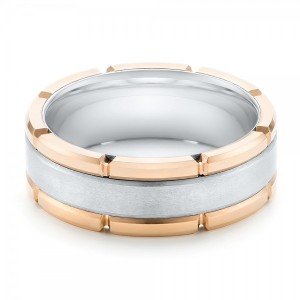 Rose Tungsten Two-Tone Wedding Band