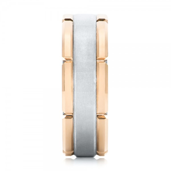 Rose Tungsten Two-tone Wedding Band - Side View -