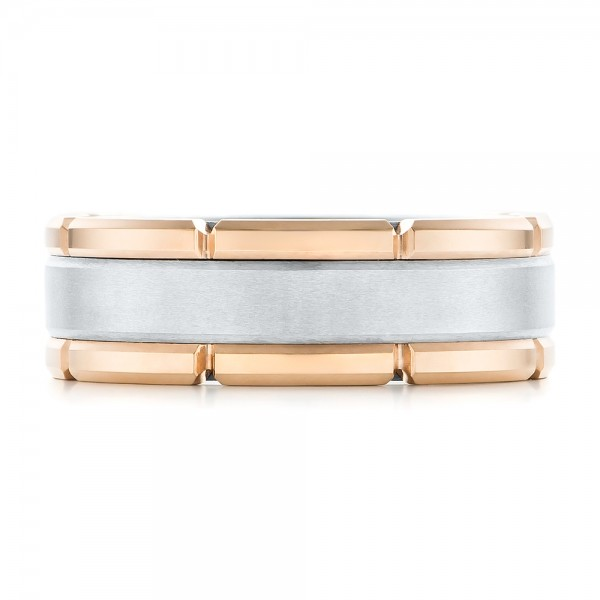 Rose Tungsten Two-tone Wedding Band - Top View -