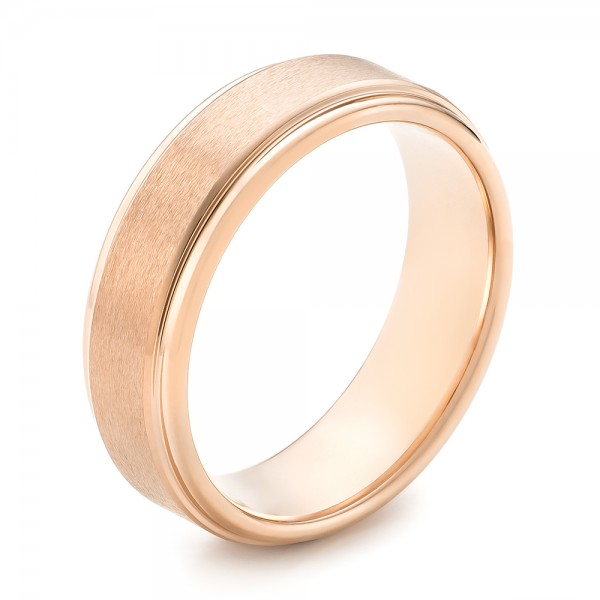 Rose Tungsten Carbide Step Edge Comfort Fit Band with Satin Center and Bright Polish Edges