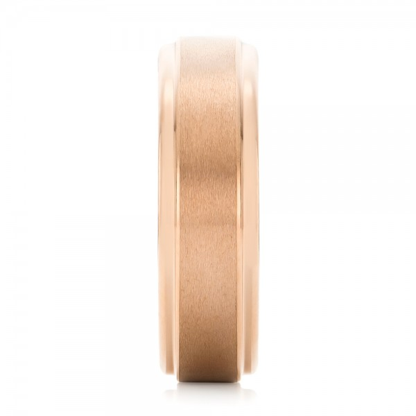 Rose Tungsten Carbide Step Edge Comfort Fit Band with Satin Center and Bright Polish Edges - Side View -  102716 - Thumbnail