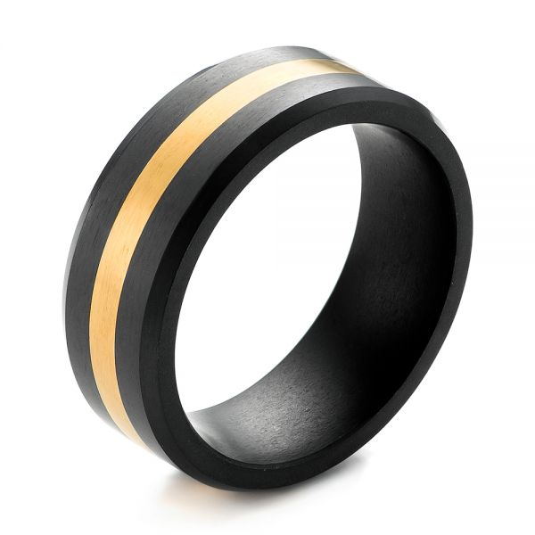 Solid Diamond 24k Yellow Gold Inlay Wedding Band