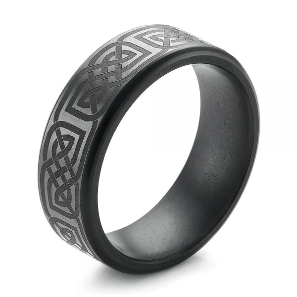 Solid Diamond Laser Engraved Men's Wedding Band