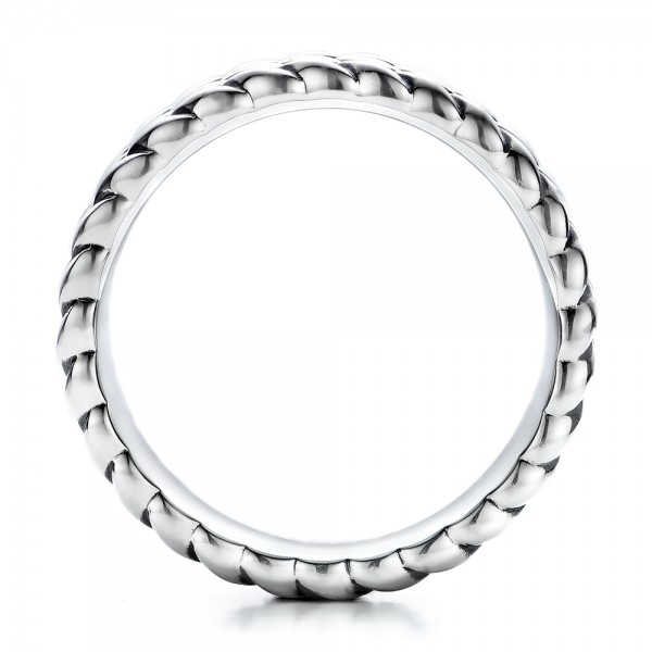 Men's Sterling Silver Braided Band - Finger Through View