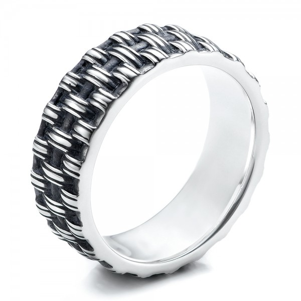 Men's Sterling Silver Woven Band - Three-Quarter View -  101210 - Thumbnail