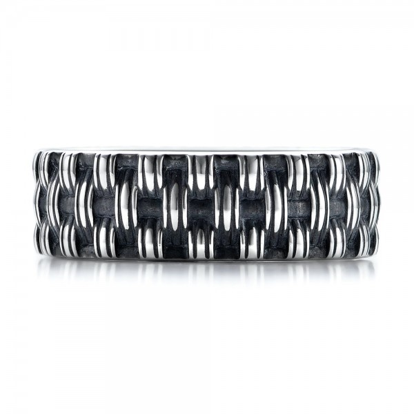 Men's Sterling Silver Woven Band - Top View -  101210 - Thumbnail