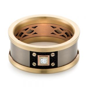 Titanium, Gold, and Carbon Fiber Men's Wedding Ring