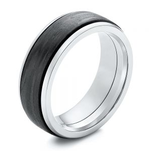 Titanium and Carbon Fiber Men's Wedding Ring - Image