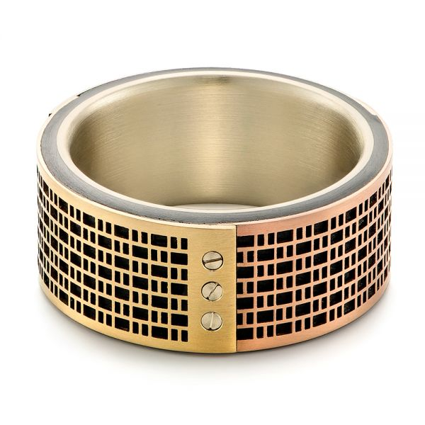 Tricolor Gold Wedding Ring - Flat View -  103860 - Thumbnail