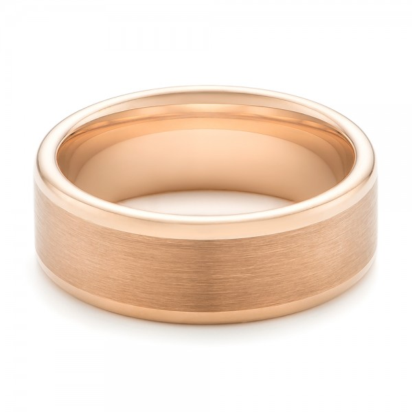 Rose Tungsten Satin Finish Men's Wedding Band - Flat View -  102681 - Thumbnail