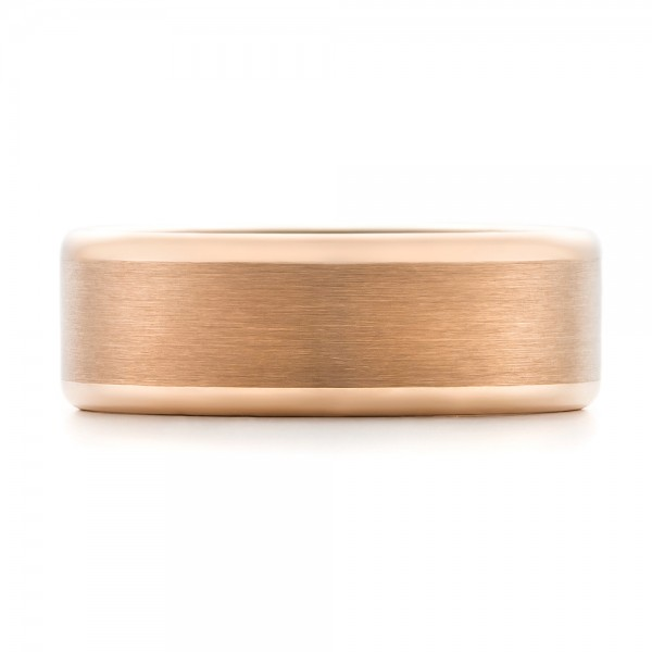 Rose Tungsten Satin Finish Men's Wedding Band - Top View -  102681 - Thumbnail