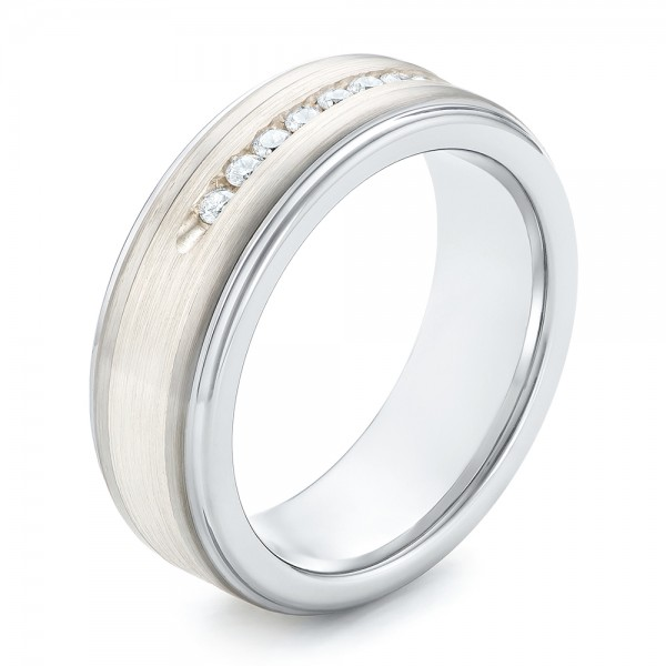 Tungsten and Silver Inlay Men's Wedding Band