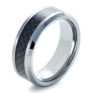 Tungsten Ring with Carbon Fiber Finish