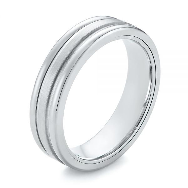 Tungsten and White Gold Men's Wedding Band - Image