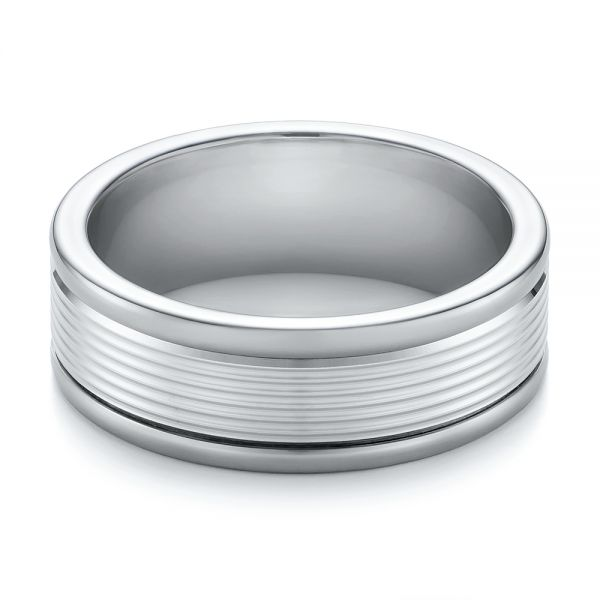Tungsten and White Gold Men's Wedding Band - Flat View -  103917 - Thumbnail