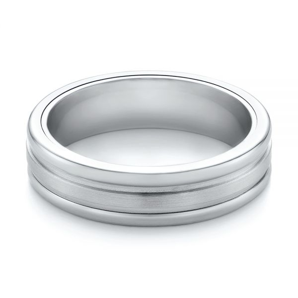 Tungsten and White Gold Men's Wedding Band - Flat View -  103921 - Thumbnail