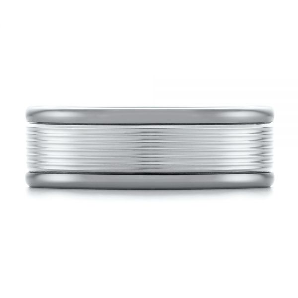 Tungsten and White Gold Men's Wedding Band - Top View -  103917 - Thumbnail