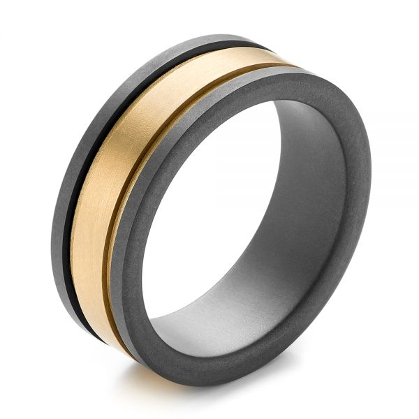 Tungsten and Yellow Gold Men's Wedding Band