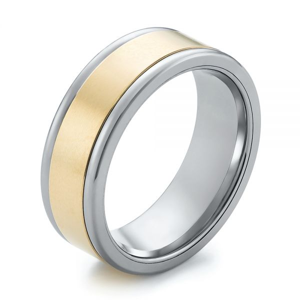 Tungsten and Yellow Gold Men's Wedding Band - Image
