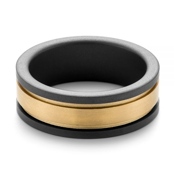 Tungsten and Yellow Gold Men's Wedding Band - Flat View -  103867 - Thumbnail