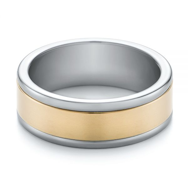 Tungsten and Yellow Gold Men's Wedding Band - Flat View -  103916 - Thumbnail