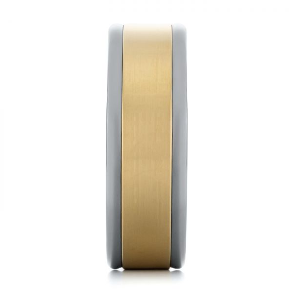 Tungsten and Yellow Gold Men's Wedding Band - Side View -  103916 - Thumbnail