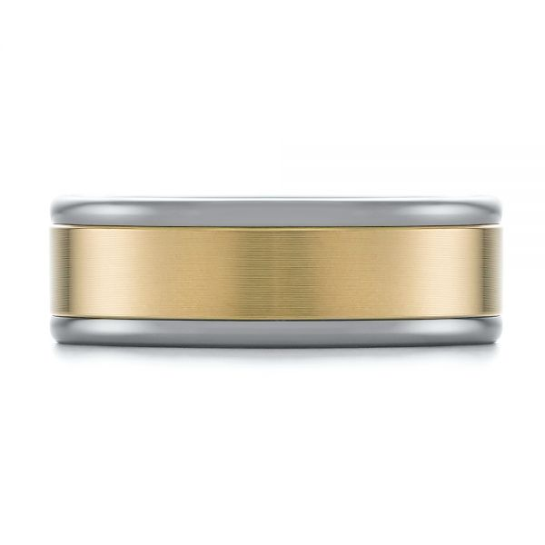 Tungsten and Yellow Gold Men's Wedding Band - Top View -  103916 - Thumbnail