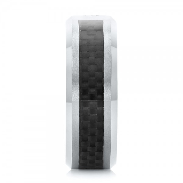 Tungsten And Black Carbon Fiber Diamond Men's Band - Side View -  102684