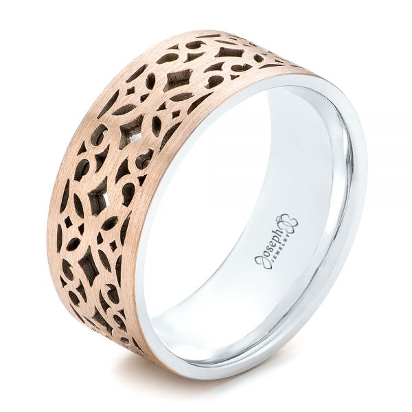 Two-Tone Filigree Men's Wedding Band - Image