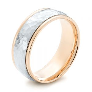 Two-Tone Hammered Men's Wedding Band - Image